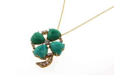 Victorian Turquoise and Diamond 14k Yellow Gold Four Leaf Clover Pendant Necklace