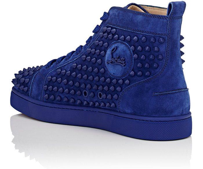 blue suede sneakers