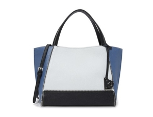 color block leather tote
