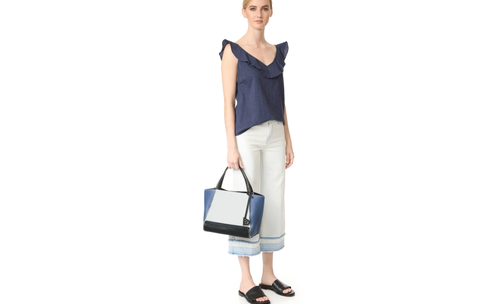 A Color Blocked Leather Tote To