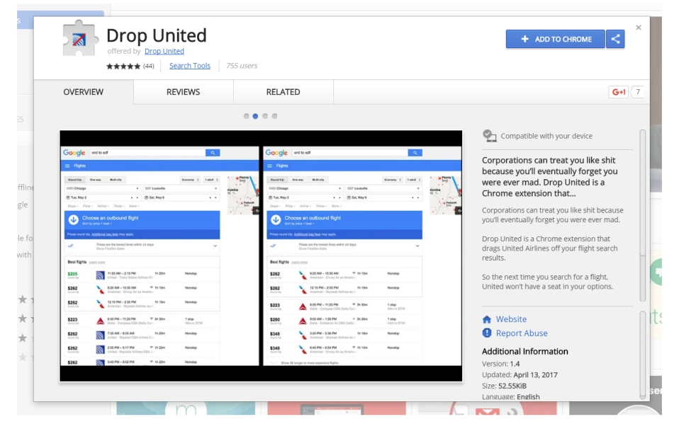 Drop United Flights With a Chrome