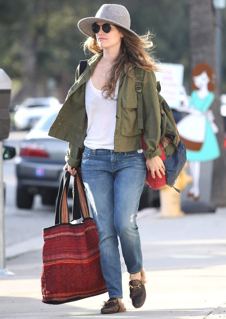gucci loafer mule celebrity rachel bilson