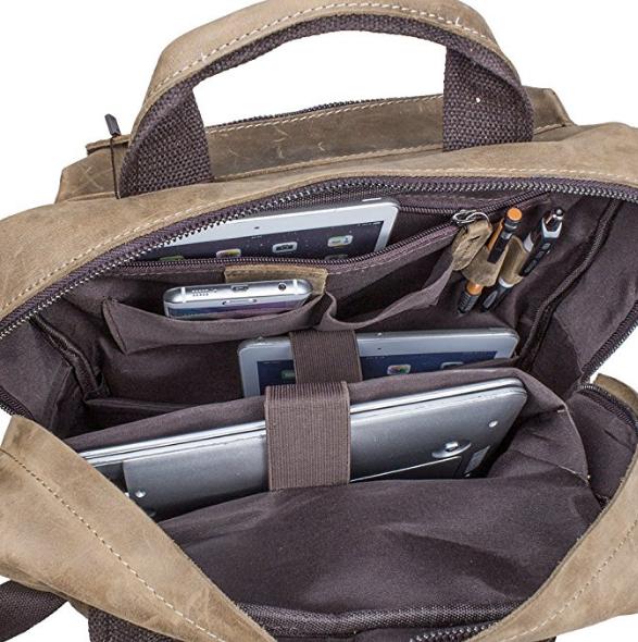 S-ZONE Vintage Crazy Horse Genuine Leather Backpack Multi Pockets Travel Sports bag