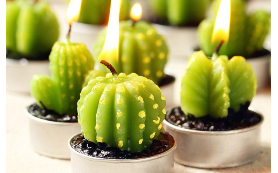 These Cactus Tea Light Candles Add