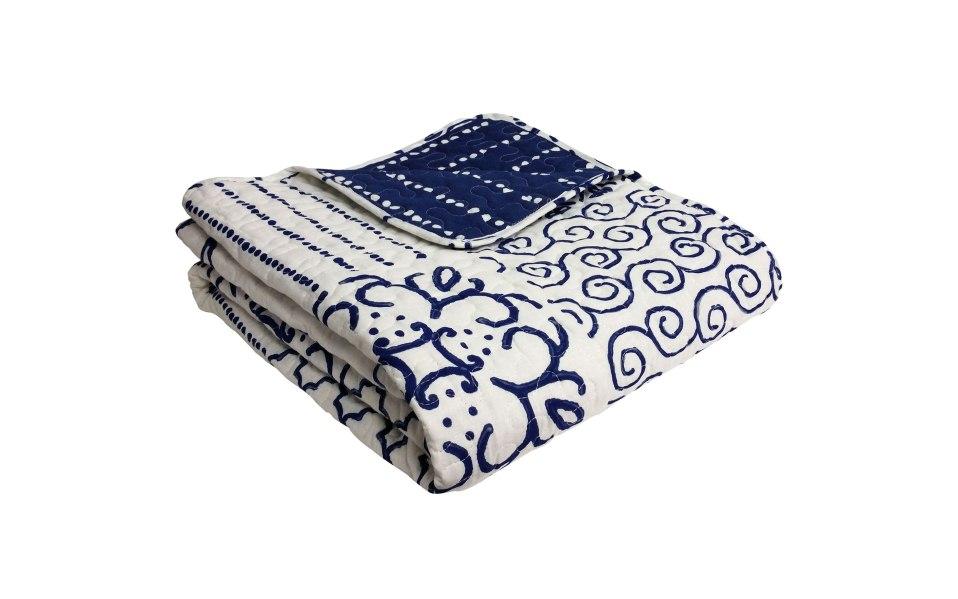 blue throw cotton blanket Hawthorn