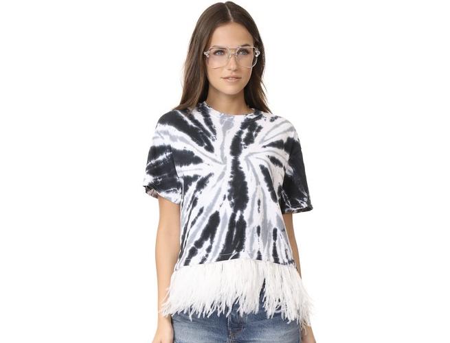 Feather Trim Tie Dye Tee Shirt