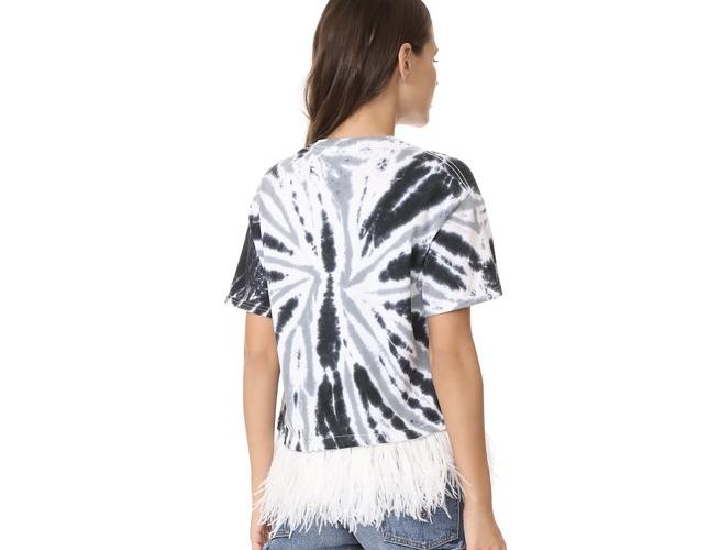 Feather-trim-tie-dye-tee-shirt