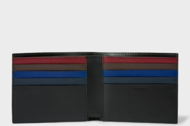 Paul Smith Men's Black Colour Band Interior Leather Billfold Wallet