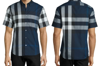 Burberry Exploded Check Short-Sleeve Shirt Ink