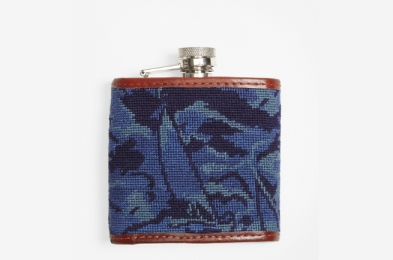 Brooks Brothers Red Fleece Camouflage Needlepoint Flask