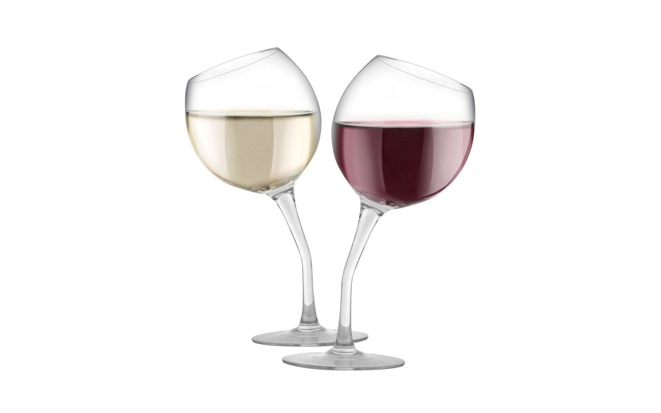 unique wine glasses tilted set KOVOT
