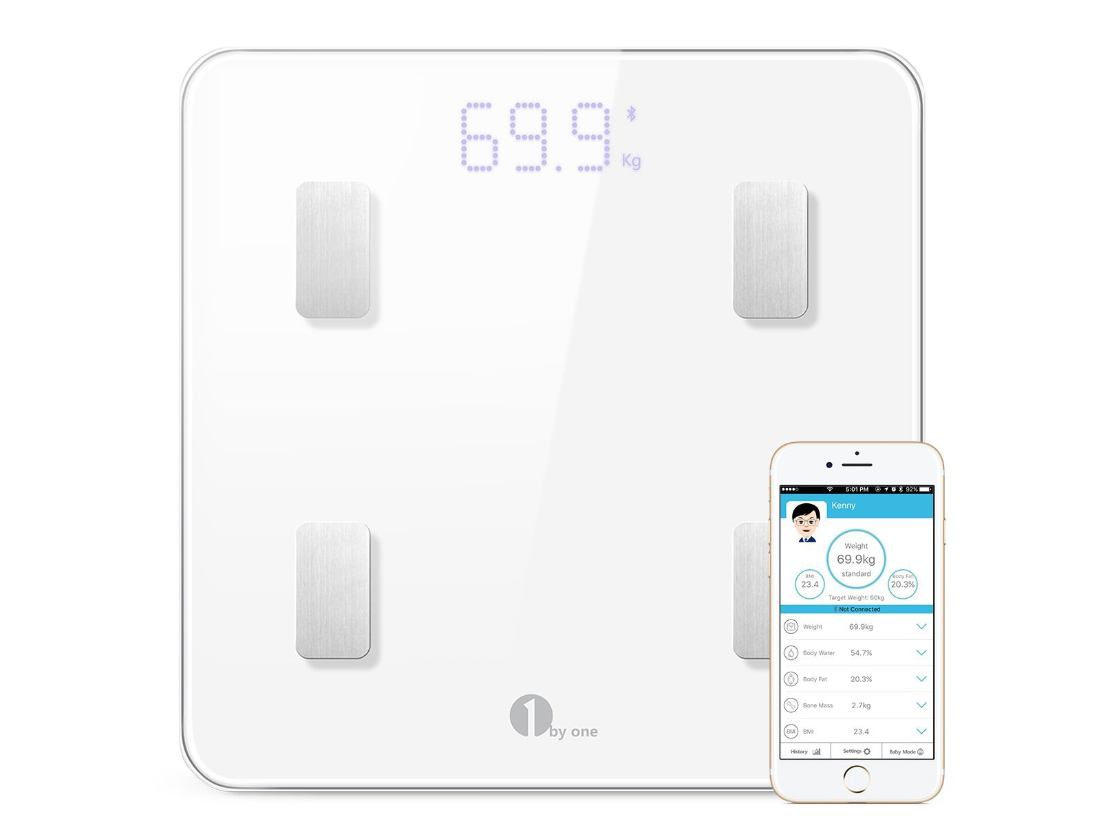 1byone Digital Weight Bathroom Scale with Bluetooth