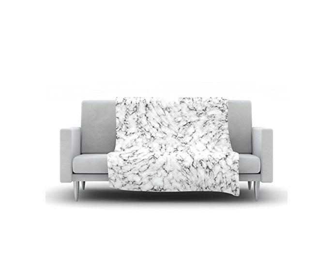 white throw Kess InHouse marble gray
