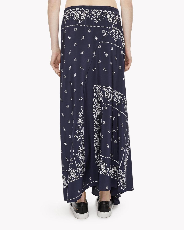 bandana printed silk skirt theory