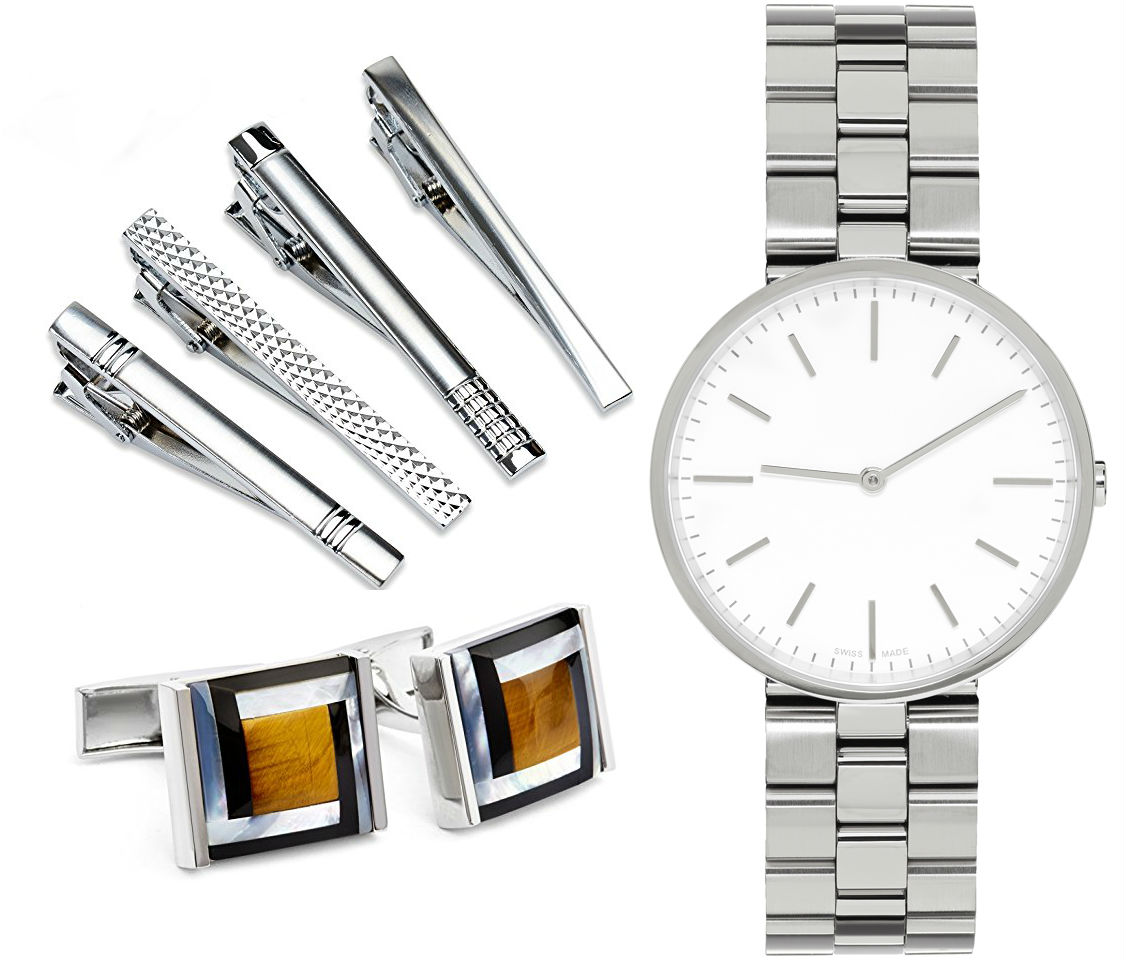 tie clips cuff links watch