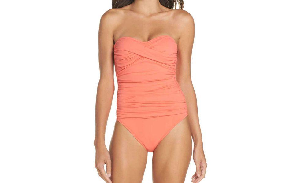 twist front bandeau one piece swimsuit
