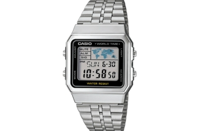 Casio World Time Bracelet Watch Silver A500WA-1CF
