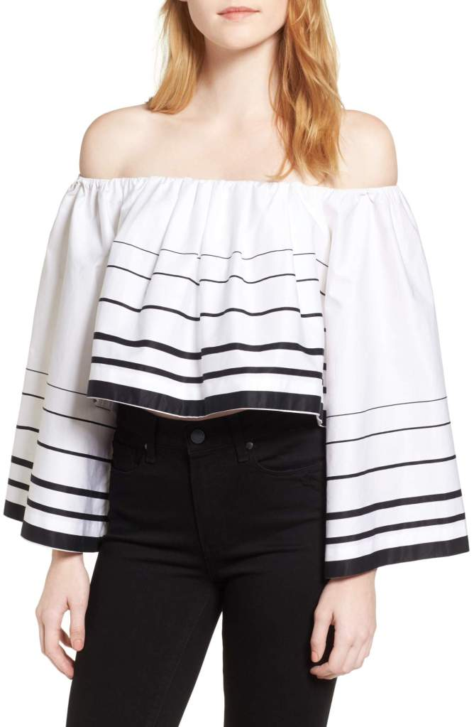 KENDALL + KYLIE Stripe Off the Shoulder TopAlternate Image 1 Selected - KENDALL + KYLIE Stripe Off the Shoulder Top Alternate Image 2 - KENDALL + KYLIE Stripe Off the Shoulder TopAlternate Image 2 - KENDALL + KYLIE Stripe Off the Shoulder Top Alternate Image 3 - KENDALL + KYLIE Stripe Off the Shoulder TopAlternate Image 3 - KENDALL + KYLIE Stripe Off the Shoulder Top Alternate Image 4 - KENDALL + KYLIE Stripe Off the Shoulder TopAlternate Image 4 - KENDALL + KYLIE Stripe Off the Shoulder Top Alternate Image 5 - KENDALL + KYLIE Stripe Off the Shoulder TopAlternate Image 5 - KENDALL + KYLIE Stripe Off the Shoulder Top Main Image - KENDALL + KYLIE Stripe Off the Shoulder Top Size Info True to size. XS=00, S=0-2, M=4-6, L=8-10. Details & Care Voluminous and dramatic, this off-the-shoulder blouse is both cropped and striped for maximum impact. Slips on over head Off-the-shoulder neck Bell sleeves 100% cotton Machine wash cold, tumble dry low Imported t.b.d. Item #5310520 Free Shipping & Returns See more More to love Karen Kane $118.00$70.80 KENDALL + KYLIE $225.00 Back to top Reviews (0) Be the first to review this Stripe Off the Shoulder Top KENDALL + KYLIE