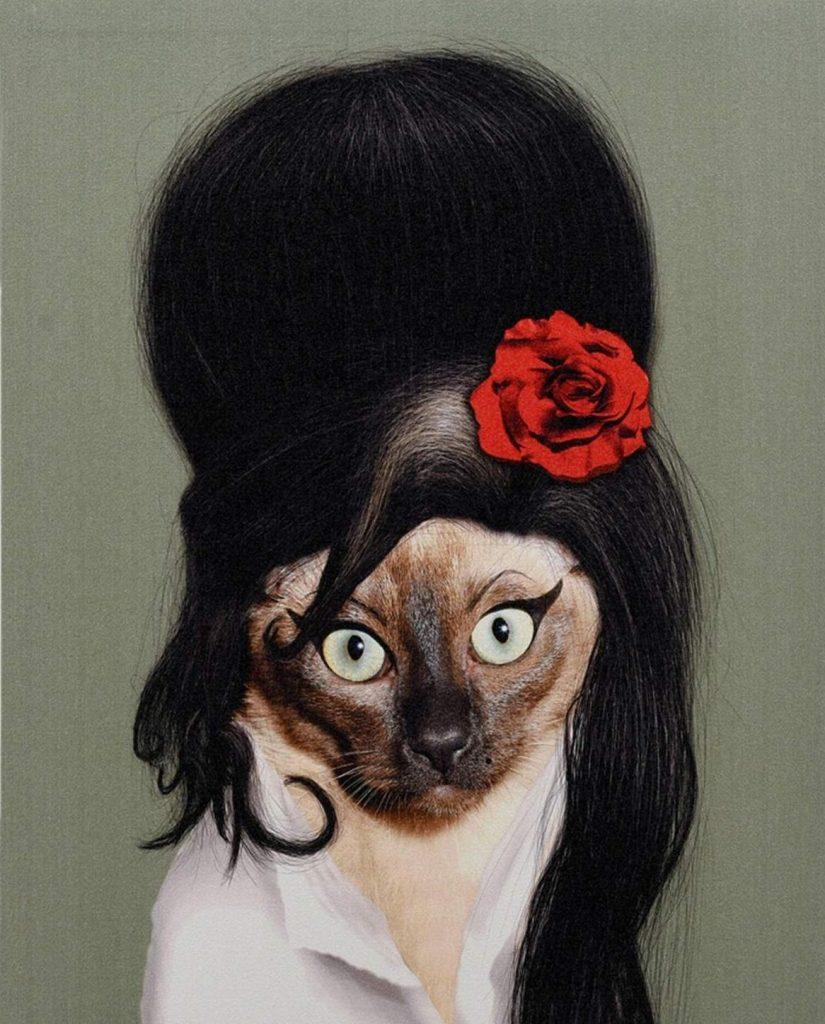 amy winehouse cat print art