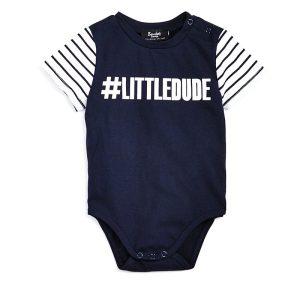"""Boys' Hashtag""""Little Dude"""" Bodysuit"""