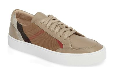 burberry check leather salmond sneakers