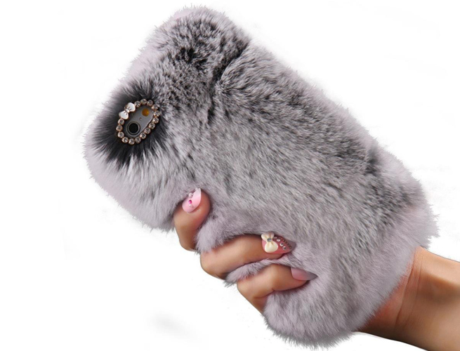 iPhone Case Soft Warm Faux Rabbit Fur Fuzzy Plush with Crystal Cute Bowknot