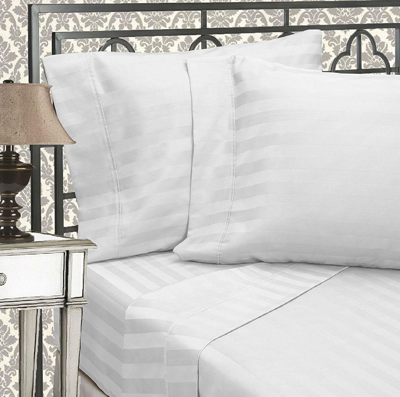 Elegant Comfort 6-Piece Damask Stripe Bed Sheet Set