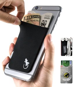 phone wallet card holder adhesive sleeve RFID elastic