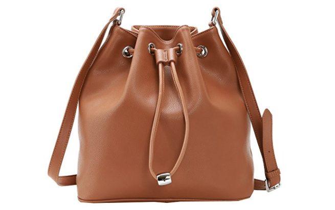 Heshe Leather Womens Buckets Bag Shoulder Handbags Drawstring Bags