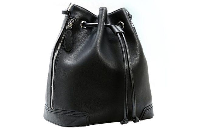 Kenoor Leather Drawstring Bucket Bag Retro Handbags Shoulder Bag