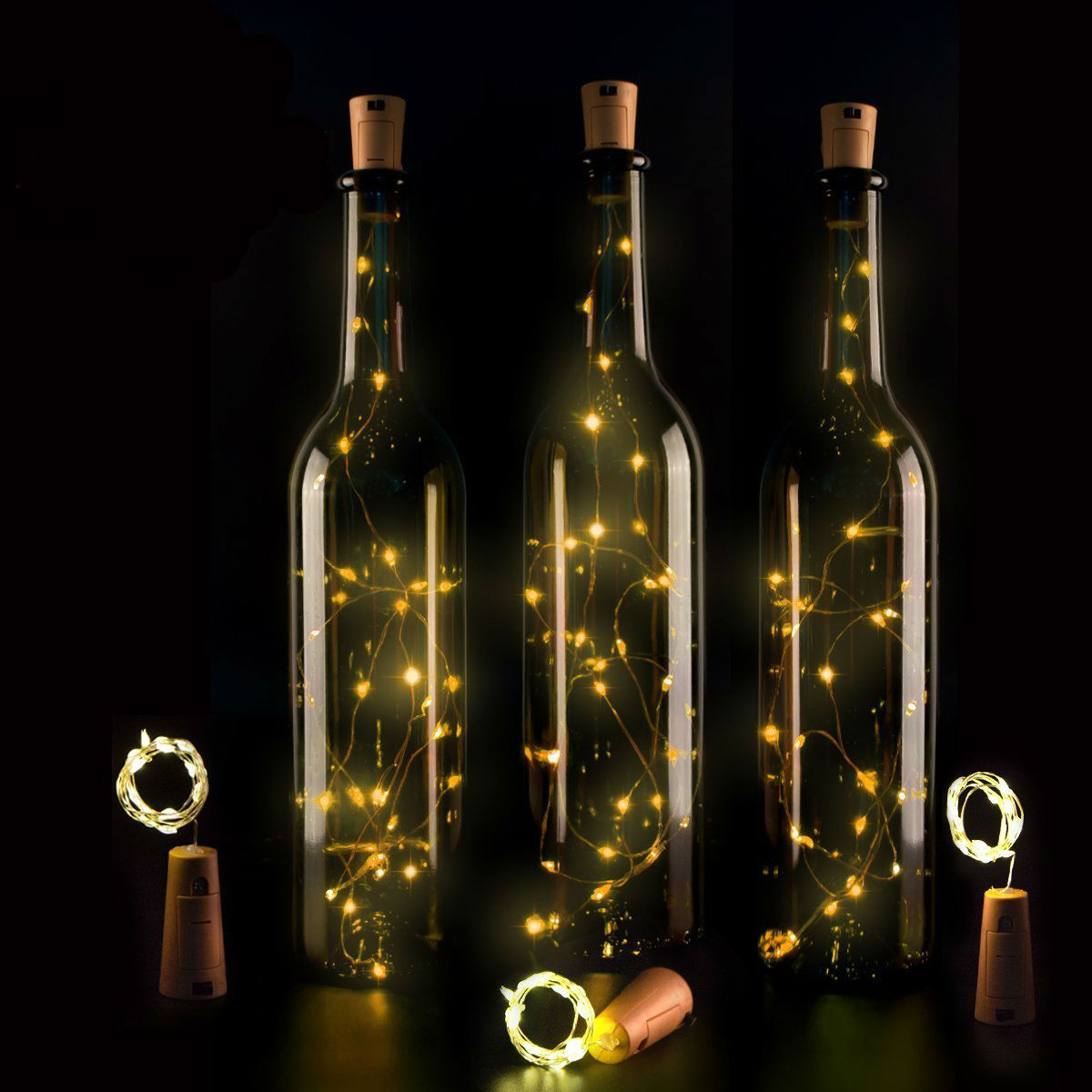 Wine Bottle Lights with Cork