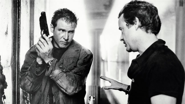 Harrison Ford and Ridley Scott on the set of 1982's Blade Runner