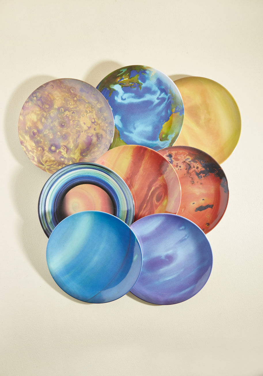 watercolor planet plates set space party best plates stars lovers