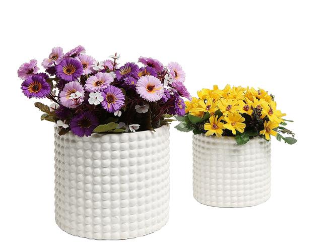 White Ceramic Hobnail Jars