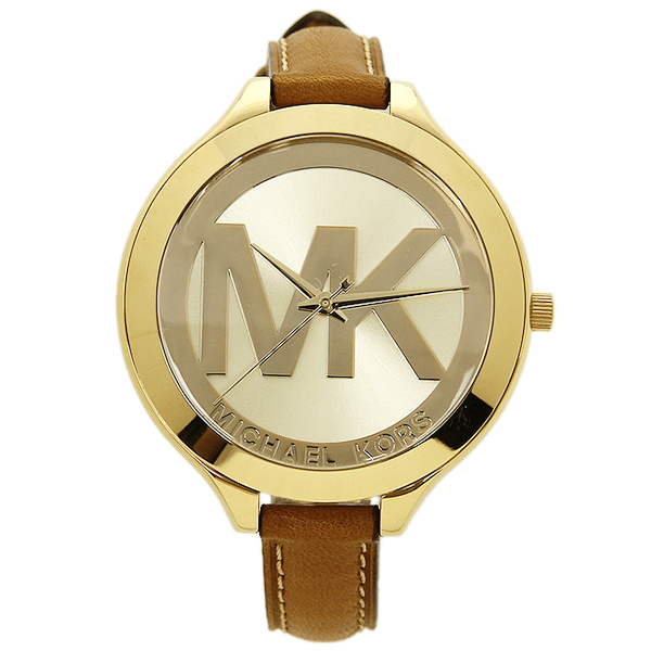 michael kors leather gold watch