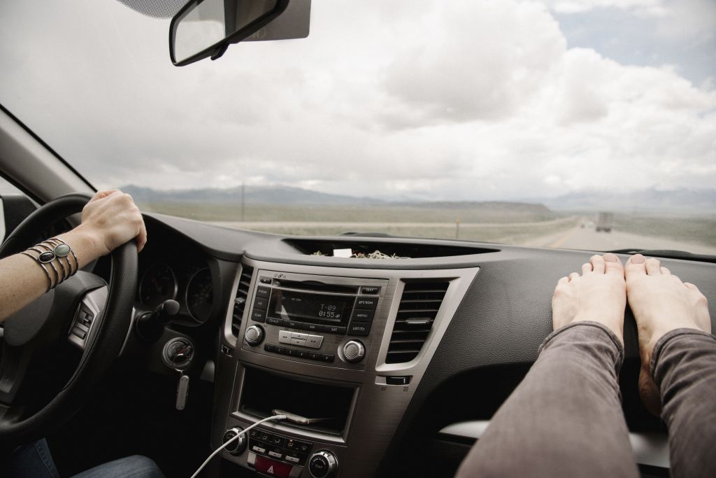 stretching in car
