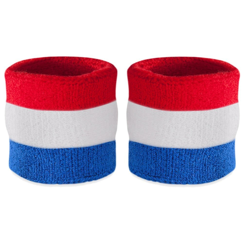 sweatbands best headbands wristbands for exercise running sweating suddora red white blue