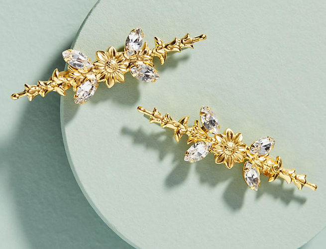 Anthropologie Meadows Crystal Bobby Pin Set