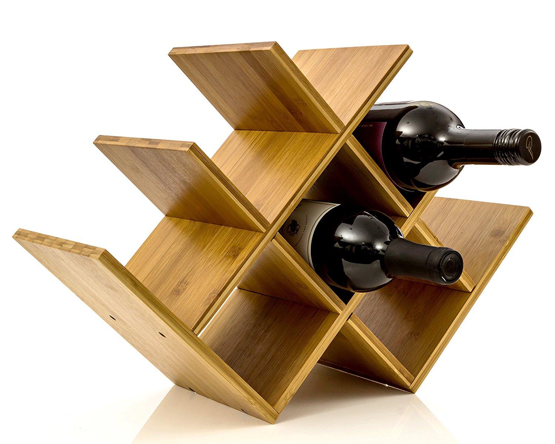 Horizontal wood wine rack amazon