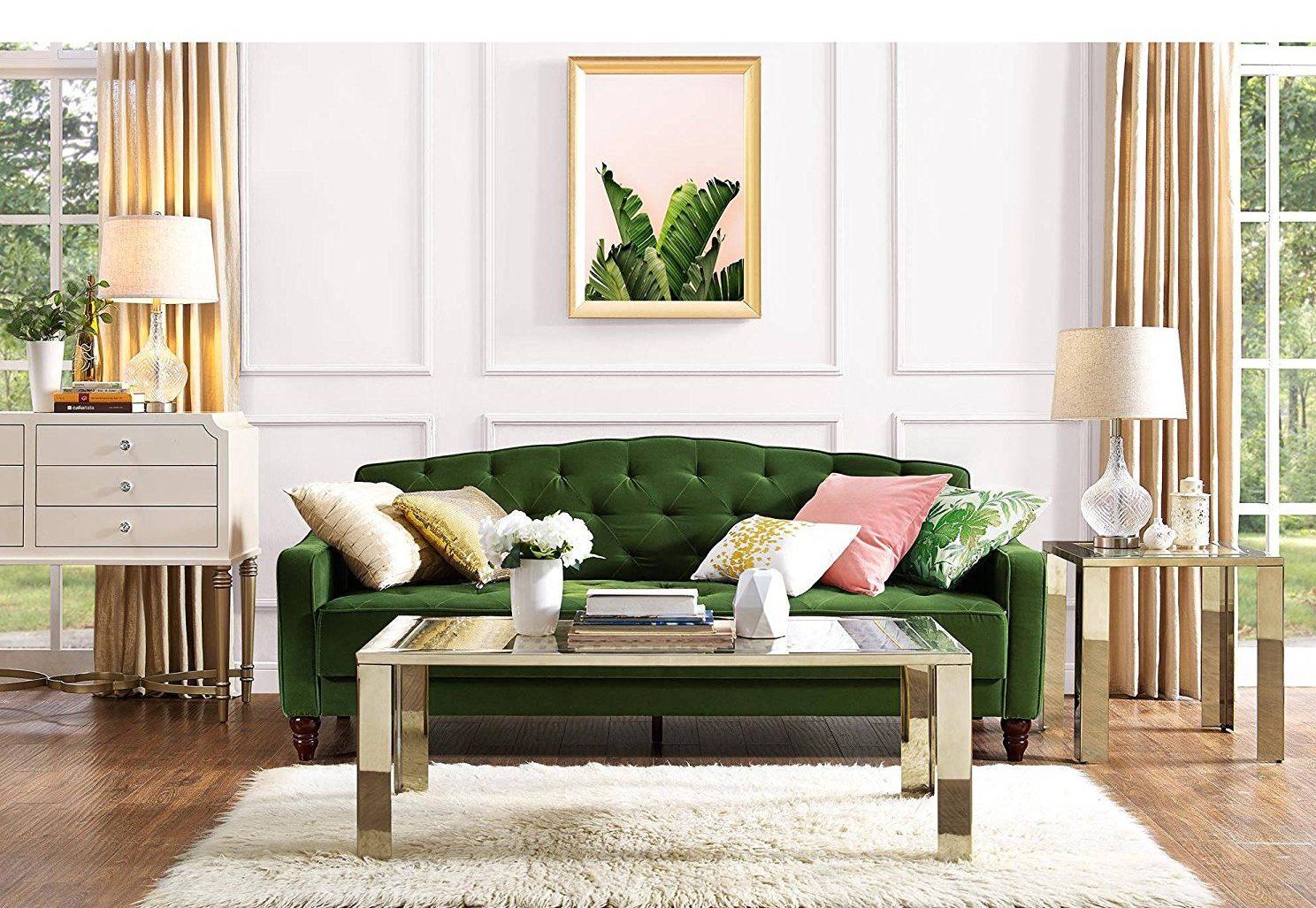 Velvet tufted sofa amazon