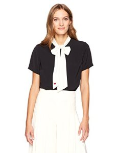 Dear Drew by Drew Barrymore Women's Broadway Tie Neck Color Block Blouse