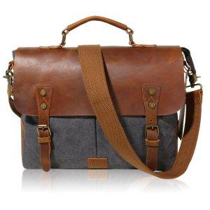 Lifewit Leather Vintage Canvas Laptop Bag,