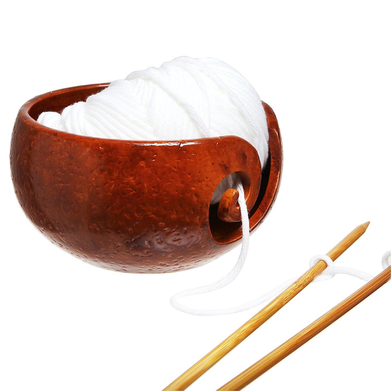 yarn bowl best knitting crochet rustic handcrafted ceramic