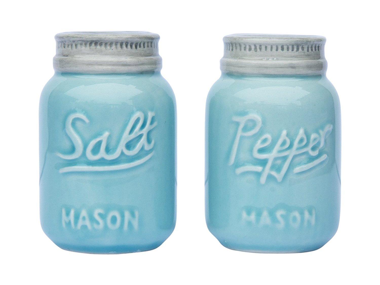 Blue Vintage Mason Jars Salt & Pepper Shakers