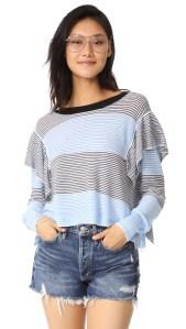 Aura Striped Ruffle Sweater by Wildfox