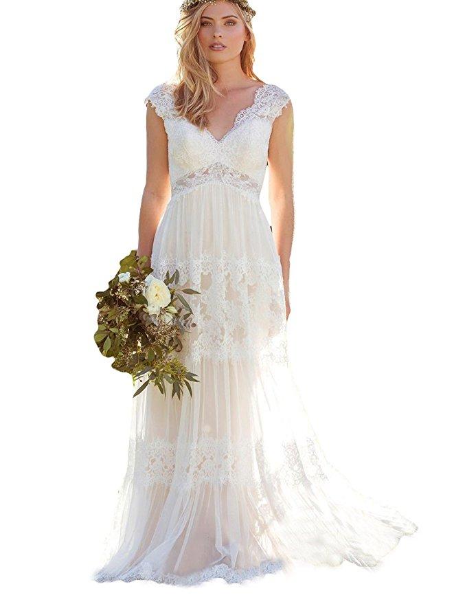 cheap wedding dresses best bridal gowns amazon under $200 bohemian lace
