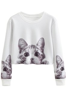 Cat Print Pullover Crop Top by Lukycild