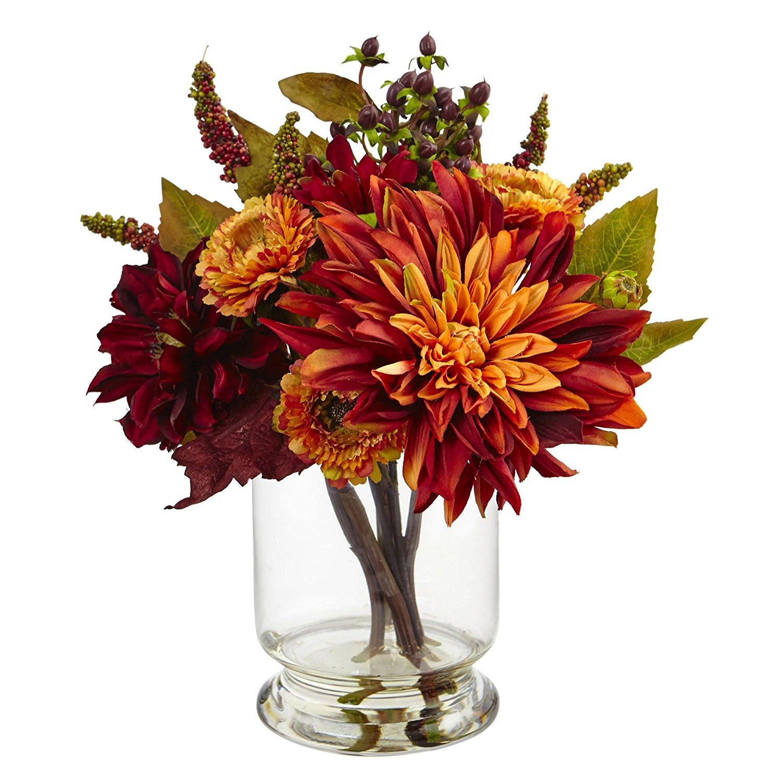 artificial flowers best arrangements silk fake dahlia mum vase