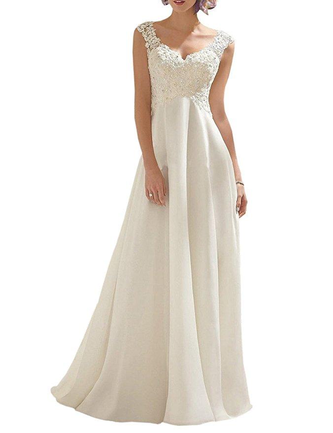 cheap wedding dresses best bridal gowns amazon under $200 double v-neck a-line