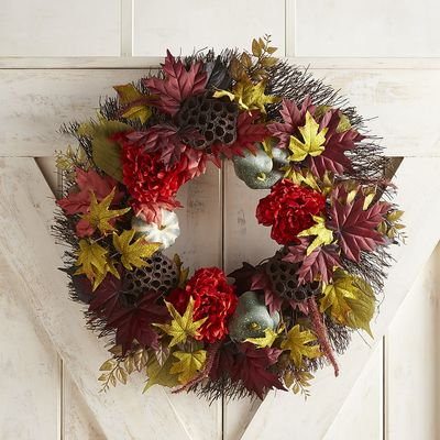 Faux Red Peony Blue Gourd Wreath